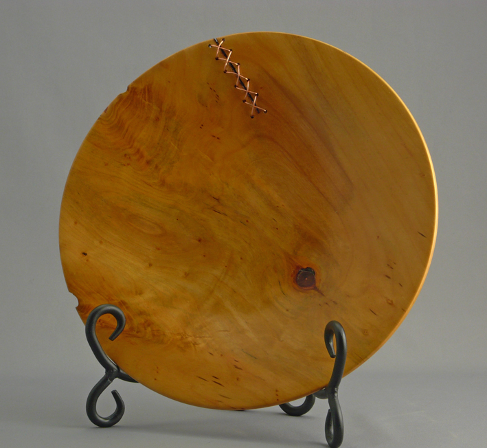 Cherry Platter with Copper Stitch Repaired Crack