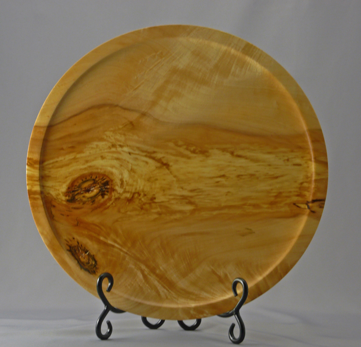 Figured Maple Platter with 2 Inclusions and 3 Feet