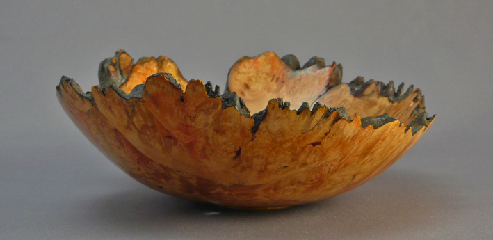 Hand Made Natural Edge Maple Burl Bowl